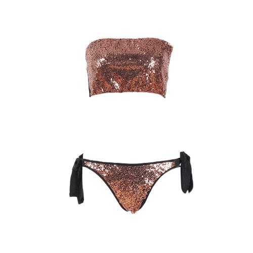 Seksowne kobiety Bling Sequins Bikini Zestaw kąpielowy kąpielowy do opalania Push Up Shiny Bathing Suit Strój kąpielowy