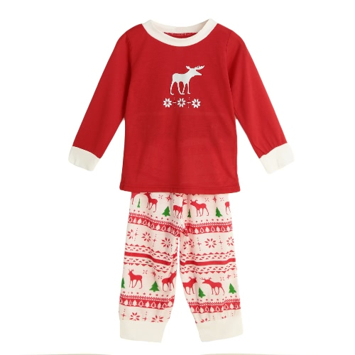 New Girls Boys Kids Two-Piece Set Pajama Christmas Sleepwear O-Neck Long Sleeves Casual House Coat Child Top Pants Red
