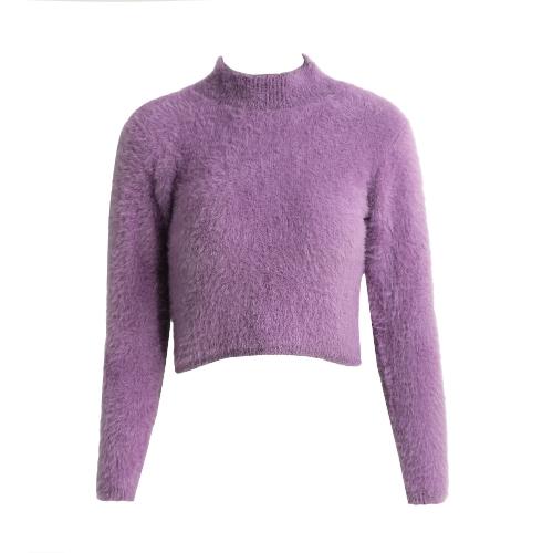 Las nuevas mujeres de punto suéter mullido Jumper Crop Top cuello de tortuga manga larga delgada de mohair Pullover géneros de punto