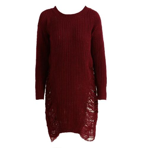 Moda damska Ripped sweter z dzianiny Sukienka O Neck z długim rękawem Zniszczony Nieregularne XL Pullover Dzianina