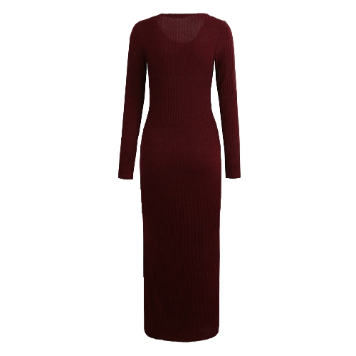 Sexy Women Knitted Long Dress Side Splits Rib Maxi Sweater Dress Long Sleeve O-Neck Casual Slim Dress Burgundy