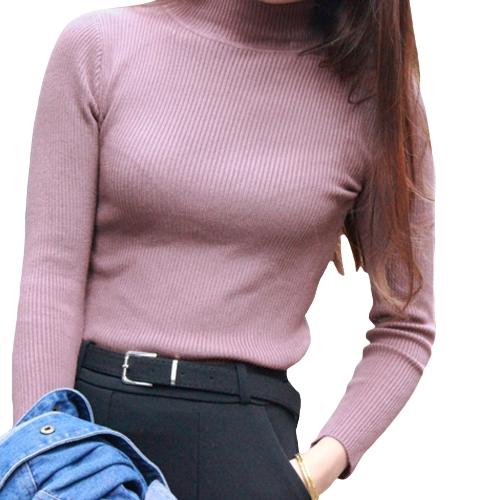 Jersey de punto jersey jersey jersey de cuello alto Manga larga jersey tejido fino elástico sólido