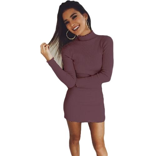 Las mujeres Slim Bodycon vestido otoño invierno cuello alto de manga larga de punto suéter elástico vestido de noche del partido