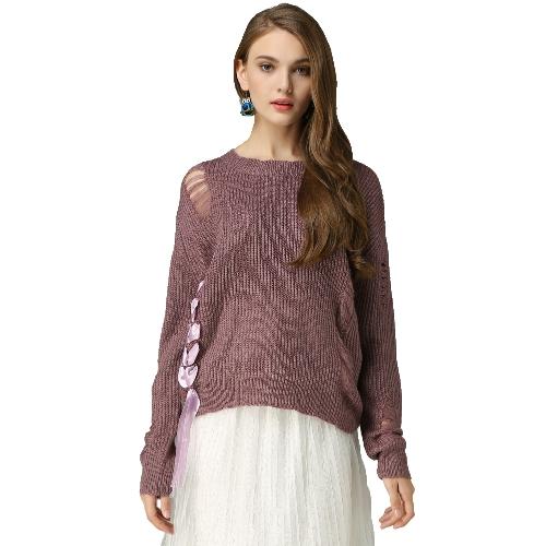 Suéter hecho punto de las mujeres suelta con cordones vendaje agujeros deshilachados cuello redondo de manga larga suéter informal púrpura