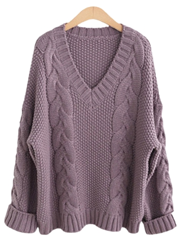 Women Sweater Knitted Wear V Neck Long Sleeve Oversized Loose Tops Purple/White