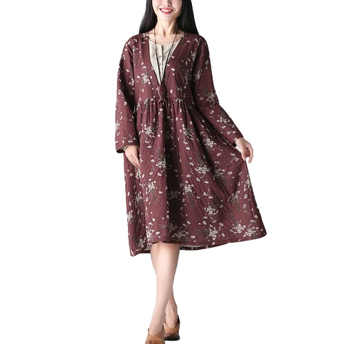 Vintage Autumn Women Casual Loose Dress Manga comprida O-Neck Print Dress Dark Blue / Borgonha