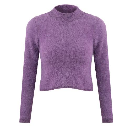 Las nuevas mujeres de la manera hicieron punto el suéter mullido del suéter que rebordea la tapa la manga larga del cuello de la tortuga Mohair adelgazan los géneros de punto del suéter