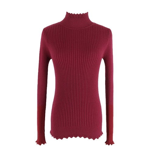 Neue Frauen strickte Strickjacke Turtleneck lange Hülse dünne Welle feste Pullover Bottoming grundlegende Strickwaren-Oberseite