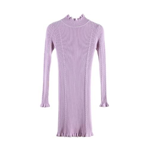 Herbst Winter Basic High Neck Langarm Casual Damen Pullover Kleid
