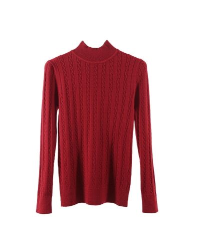 Frauen Strick Pullover Solid Farbe Kabel Twist Ribbed High Neck Langarm Bodycon Casual Pullover
