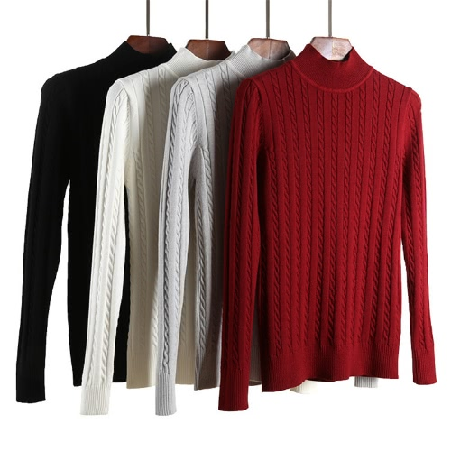 Women Knitted Sweater Solid Color Cable Twist Ribbed High Neck Long Sleeve Bodycon Casual Pullover