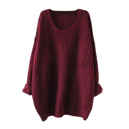 Las nuevas mujeres hicieron punto el suéter de la manga larga del batwing del color sólido flojamente el suéter caliente del suéter de la capa del puente