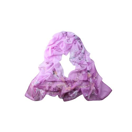 Neue Frauen-Chiffon-Schal-Blumen-Elster-Druck-Kontrast-Farben langer dünner Pashmina-Schal-Weinlese