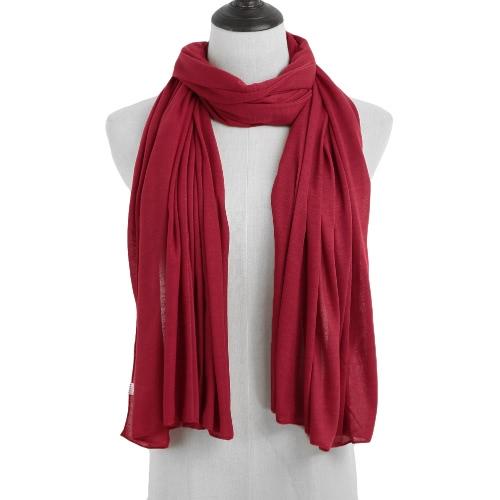 Las nuevas mujeres de la bufanda del mantón de color sólido a largo muselina Hijab del pañuelo bufanda principal