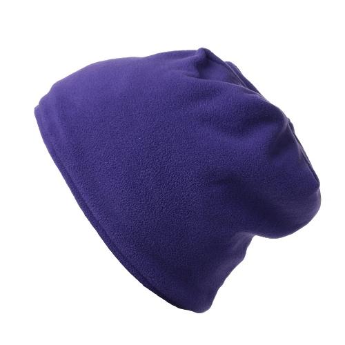 Unisex Solid Color Beanie Warm Skullcap Fleece Hat Cap