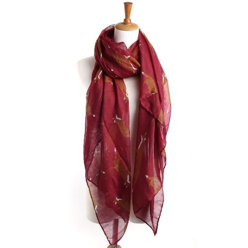 Moda Mulheres Long Scarf Fox Animal Print Vintage macio lenço morno outono Feminino Pashmina Xaile