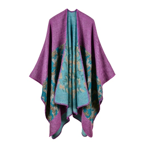 Moda Mujer Poncho Cardigan Suéter Camuflaje Falso Cachemira Capes Shawl Bufanda Loose Outerwear Coat