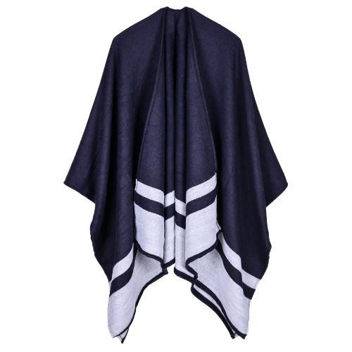 Mujer Poncho Bufanda Cardigan Suéter Geométrico Rayado Caliente Cabo Shawl Bufandas Largas Pashmina Outwear