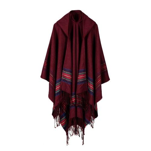 Nuevas mujeres de punto Poncho Cape con capucha de rayas de gran tamaño Cardigan suéter Long Shawl Scarf Cashmere Pashmina