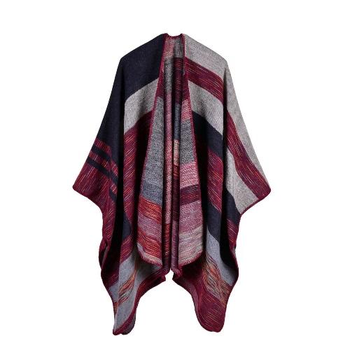 Neue Frauen strickte Poncho Cape Kontrast Streifen Übergroße Strickjacke Strickjacke Langer Schal Schal Kaschmir Pashmina