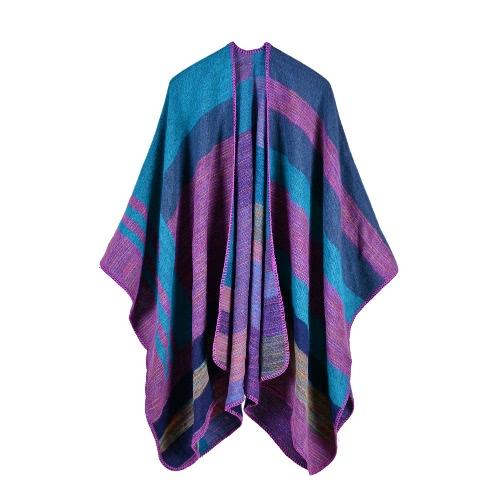 Nuevas mujeres poncho poncho contraste del cabo rayas suéter de gran tamaño de rebeca bufanda larga cachemira cachemira Pashmina