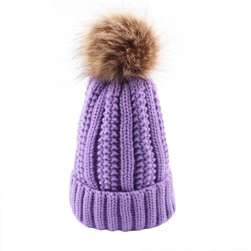 Sombrero de invierno para mujer Gorro de punto Knight Skullies Pom Pom Causal caliente al aire libre Thick Female Cap