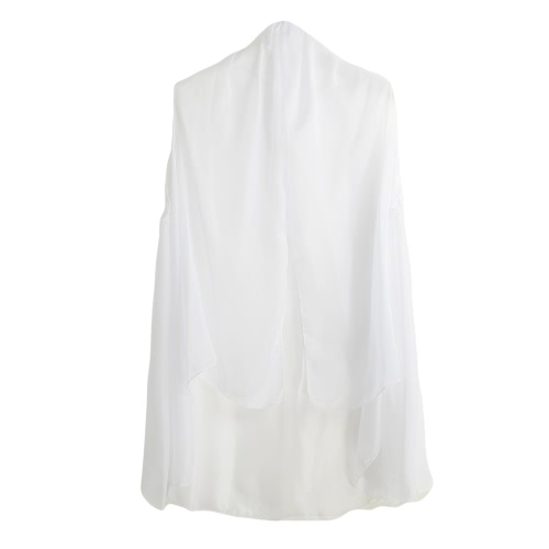 New Summer Women Chiffon Outerwear Open Front Sheer Sleeveless Solid Thin Casual Beach Cover-up