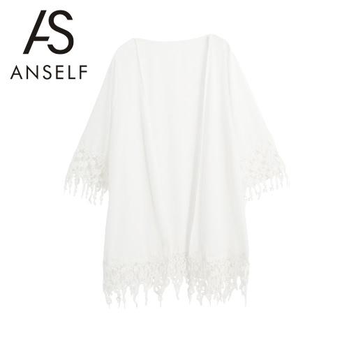 Art und Weise Frauen-Strand-Vertuschungen Chiffon Crochet Quaste vorne offen Kimono Bademode Badeanzug Bikini Cover White
