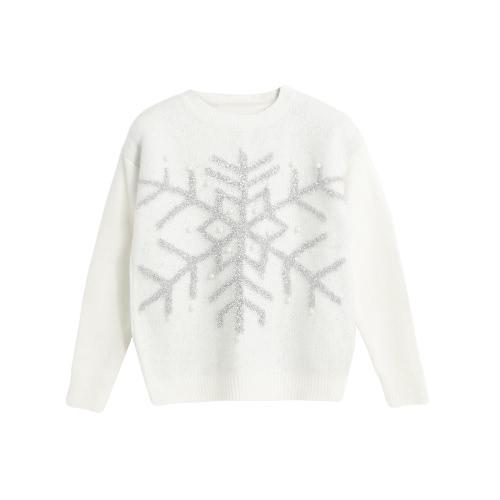 Nueva Otoño Invierno Mujer jersey de punto brillante del copo de nieve del grano Jacquard Jersey de manga larga Casual Tops Prendas de punto blanco / rosa