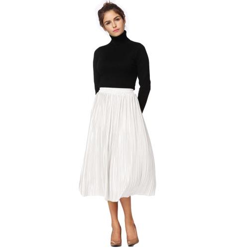 Nueva Breve Europa plisada falda de color sólido de alta cintura elástica de la pretina forrada de la falda de Midi