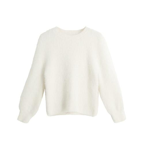 新しいファッションの女性のニットセーターソリッドカラーO-ネックロングスリーブカジュアル厚く暖かいジャンパープルオーバーニット