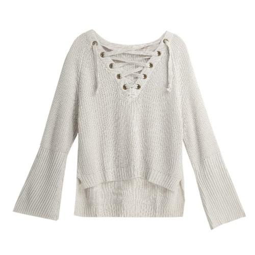 Autunno Inverno donne maglione chiarore merletto del manicotto Fino V-Collo del ponticello del pullover lavorato a maglia Top