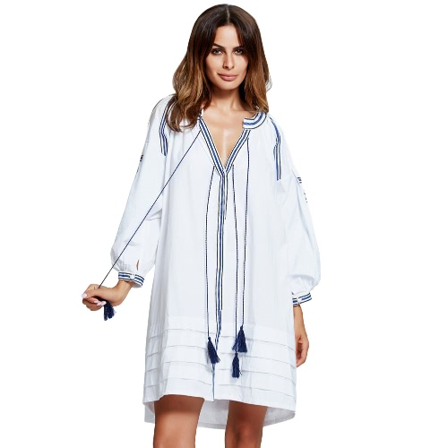 Women Vintage Shirt Dress Embroidery Puff Sleeve Button Tasseled Rope Pleated Belt Long Loose Top White/Blue