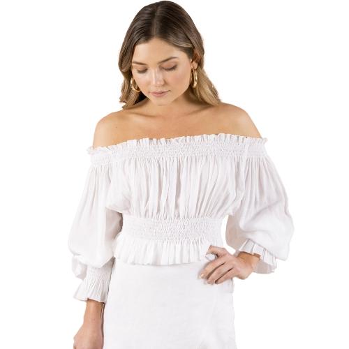 Mujeres atractivas del hombro volante de la gasa de la colmena superior con pliegues Trinchera manga linterna delgada blusa casual blanco