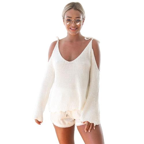 Suéter hecho punto de las mujeres cuello en V Mangas acampanadas del espagueti de la manga de la llamarada del resorte flojo ocasional Streetwear