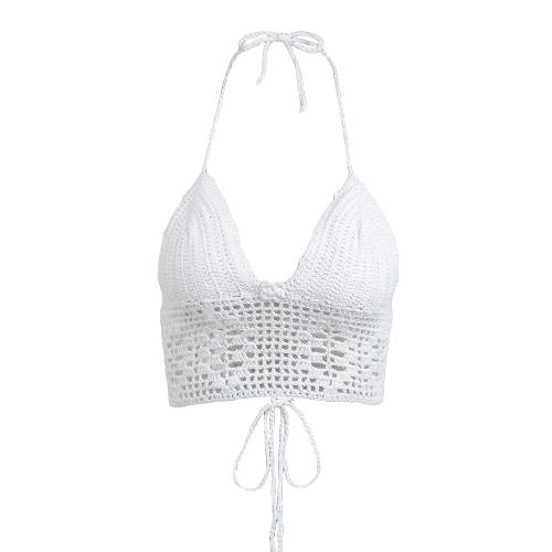 New Sexy Mulheres Crochet Malha Top Curto Halter Vest Plunge V Neck mangas Bralette Swimwear Preto / Branco