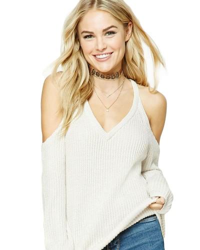 Invierno mujeres sueltas de punto suéter fría hombro V-cuello de manga larga suéter Tops de punto Blanco / Café
