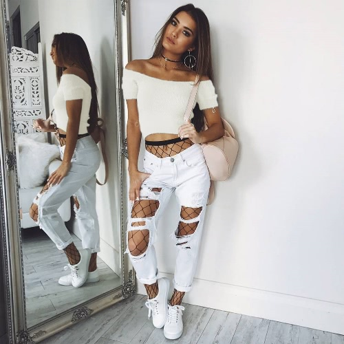New Sexy Women Off Shoulder Knitted Short Sleeve Sweater Slash Neck Mohair Slim Crop Top Pullover Knitwear