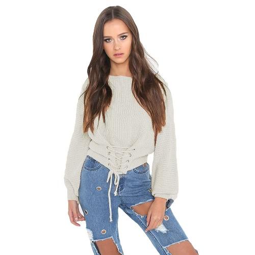 Las mujeres atractivas tejieron el suéter Slash Neck Lace-Up vendaje manga larga informal de prendas de punto de pullover hombro