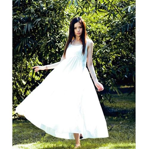 Donne Cami Long Dress Sleeveless Tasche Cinturino Spaghetti Reggiseno Wide Hem Solid Maxi Beach Dress