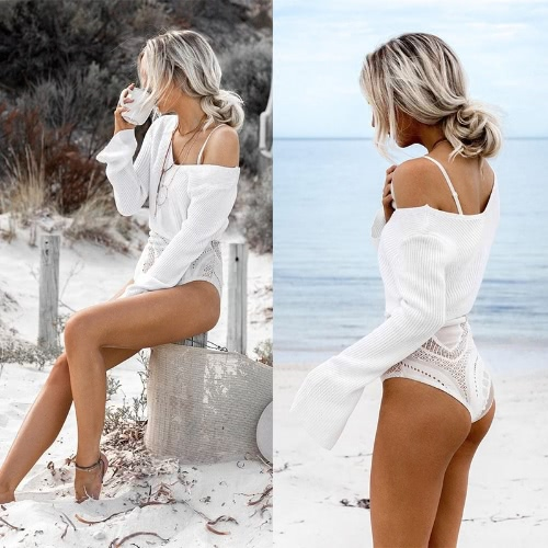 Fashion Women Knitted Sweater Sexy Off Shoulder Cropped Top V Neck Flare Sleeve Loose Pullover Knitwear Khaki/White