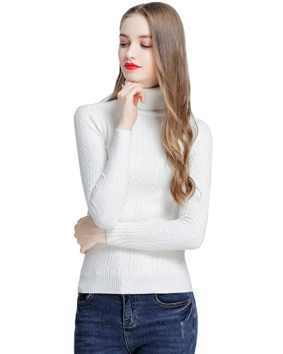 Fashion Women Twisted Turtleneck Long Sleeve Knitted Sweater Pullover High Elastic Solid Slim Bottoming Knitwear Tops