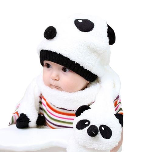 Infante inverno ragazza ragazzo carino Panda cappello sciarpa Set Fleece Beanie cappuccio caldo Unisex in due pezzi
