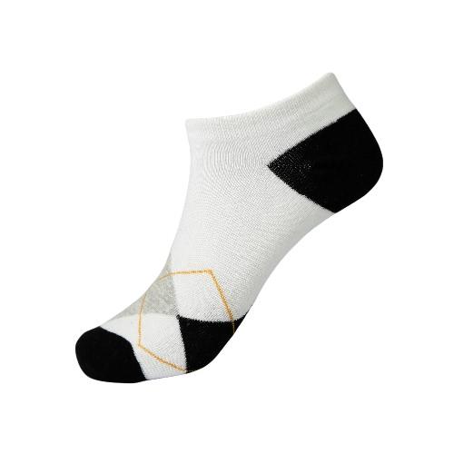 Nueva moda hombres calcetines patrón geométrico contraste Color baja corte elástico transpirable casuales deporte tobilleras