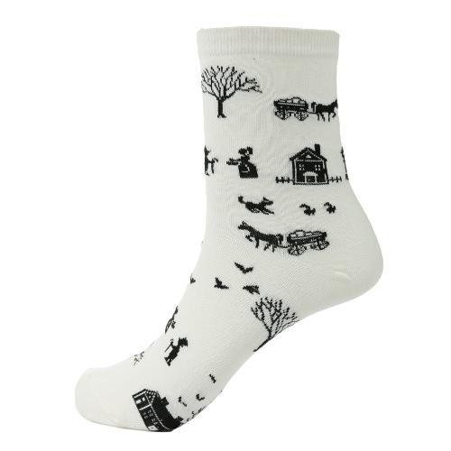 Los nuevos bolsos de las mujeres calcetines de dibujos animados patrón de contraste árbol Colorblock Puños calcetines deportivos
