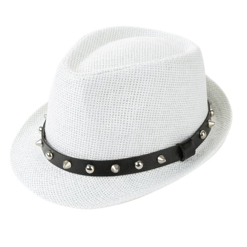Moda de verano de paja de Sun Hombres Mujeres Panamá Sombrero de la playa del casquillo del remache de la correa de Fedora del sombrero flexible del sombrero