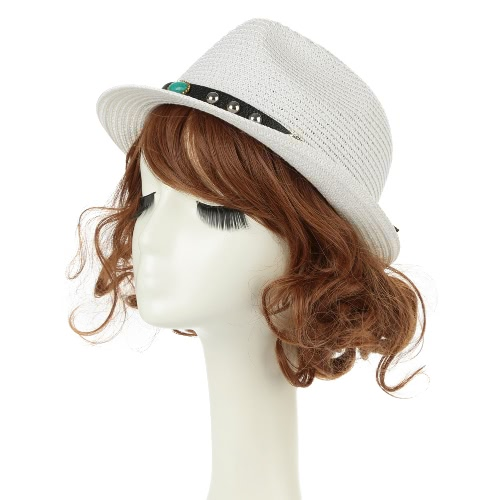 Unisex Homens Mulheres Straw Hat Fedora Rivet Curto Laminados Brim Retro Panamá Estilo Trilby Cap Homburg Branco