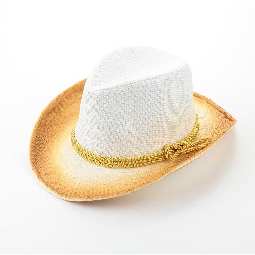 Kobiety Moda Sun Hat Kontrast Kolor szerokie rondo Belt Lato Sunbonnet Plaża Panama Hat Fedora Biała