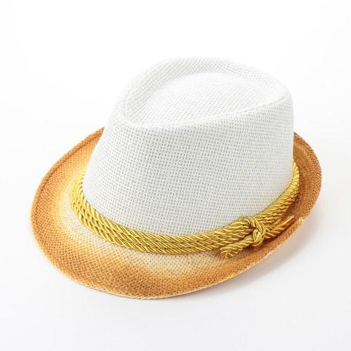 Mujeres de la manera Sombrero de sol del color del contraste de paja de ala estrecha de la correa del verano Sunbonnet Playa Panamá sombrero de Fedora Blanco / Beige