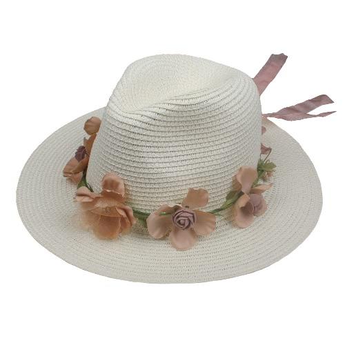 Verano Mujeres Flor Sombrero de paja Correa de guirnalda Floral Wide Brim Sombrero Sun Beach Sombrero Fedora Trilby Blanco / Beige / Khaki